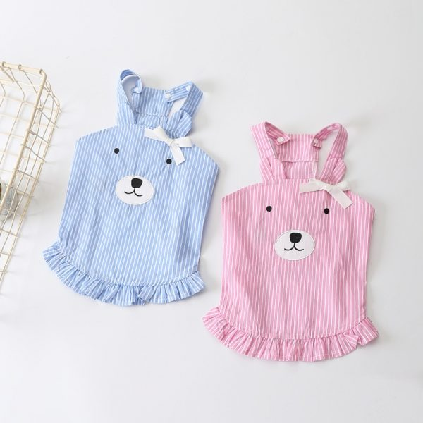 Dog Summer Dress. Striped Pattern Pink and Blue