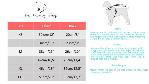 Dog Dress Table measurements