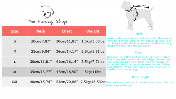 dog shirt size table