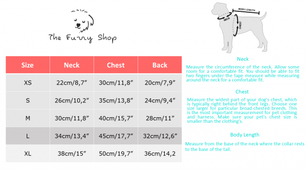 small dog dresses table sizes