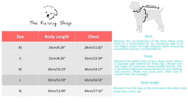 dog dress online size table