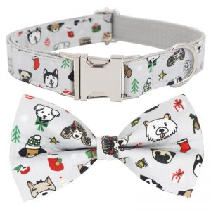 christmas dog collar with bow