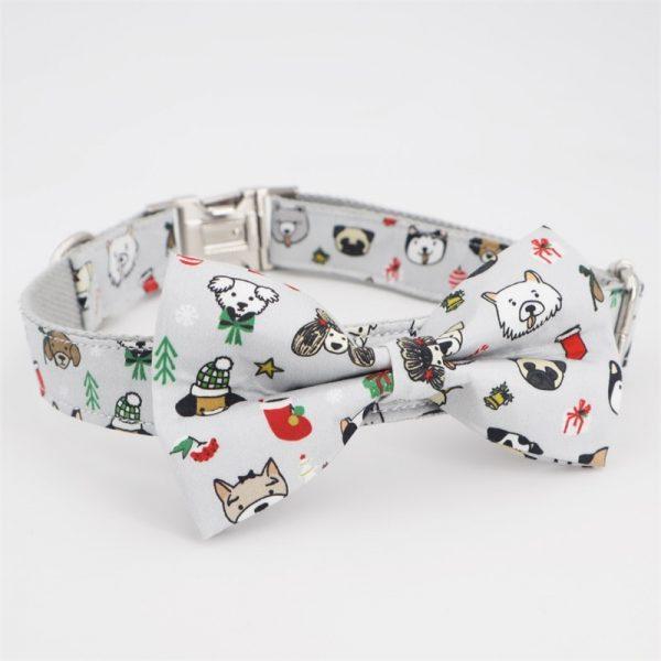 christmas dog collar with bow